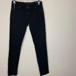 Zara- Slim Fit Black Patterned Pants size 4